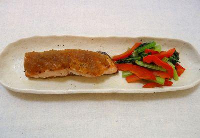 鮭のグリル玉ねぎソース